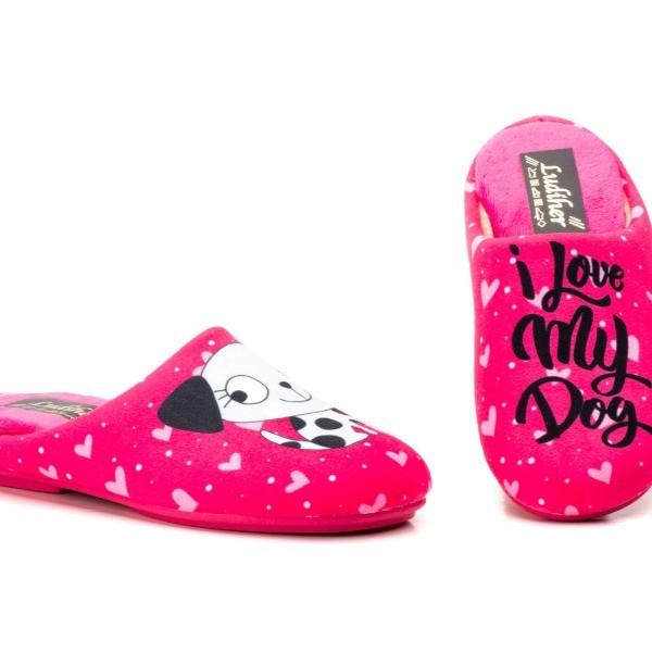 "810 Fuxia - Zapatillas Mujer ""I love my Dog"""
